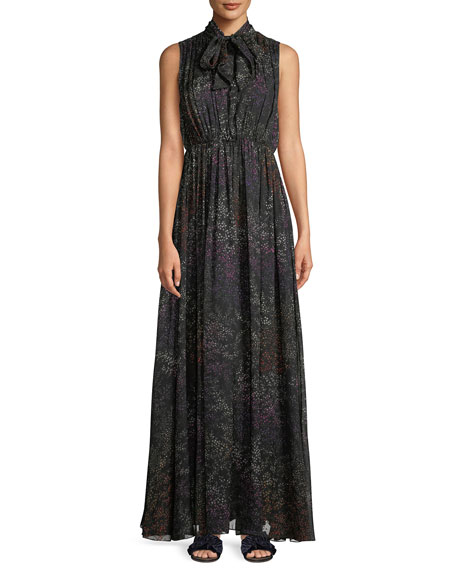 Tie-Neck Sleeveless Floral-Print Silk Chiffon Evening Gown