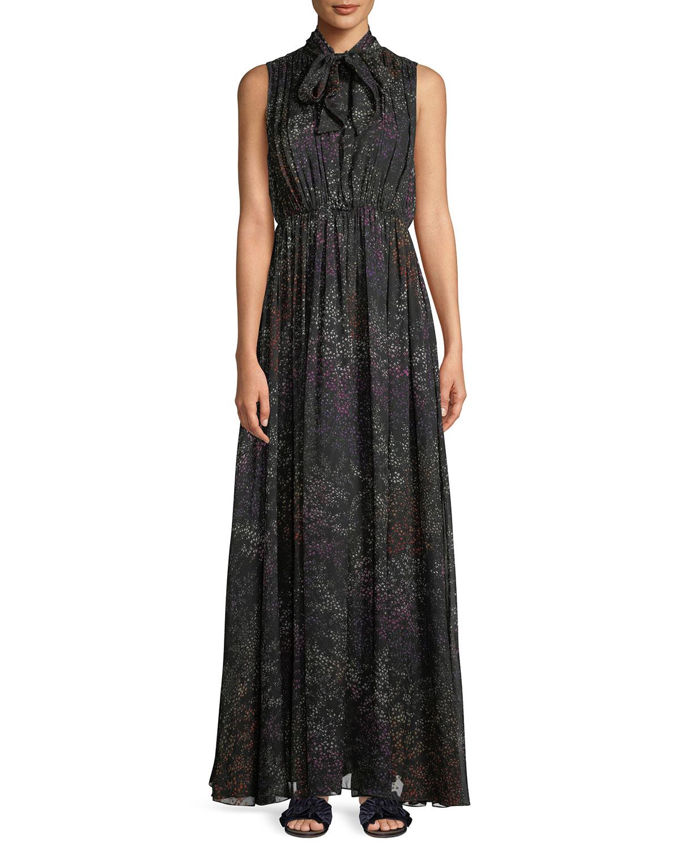 b533ba2069851a Co Tie-Neck Sleeveless Floral-Print Silk Chiffon Evening Gown ...