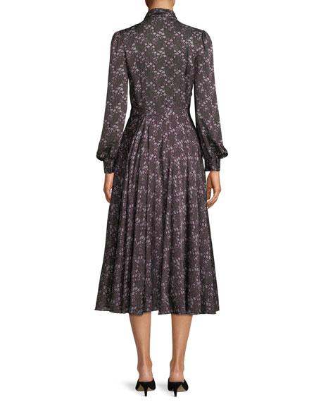 Tie-Collar Long-Sleeve Silk Midi Dress