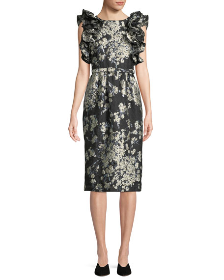 Ruffled Sleeveless Metallic Floral-Brocade Cocktail Dress w/ Lace-Up Back