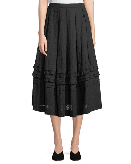 Embroidered Voile Pointelle Ruffled A-Line Skirt
