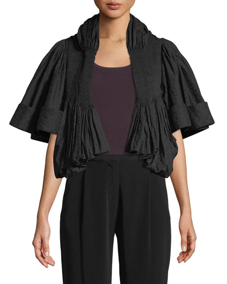 Embroidered Voile Pleated Cropped Jacket
