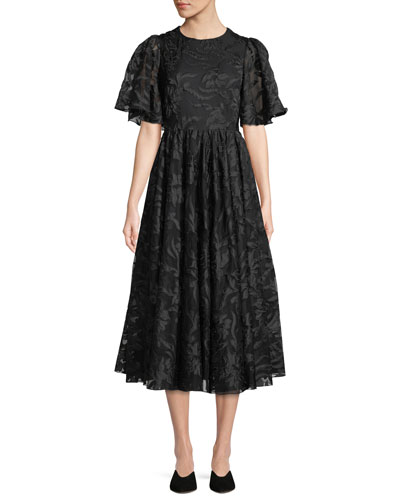 Co Flared-Sleeve Floral-Applique Fit-and-Flare Cocktail Dress dd061e119