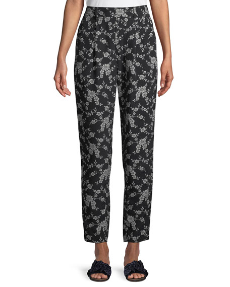 Co Stovepipe Floral-Print Straight-Leg Gabardine Pants
