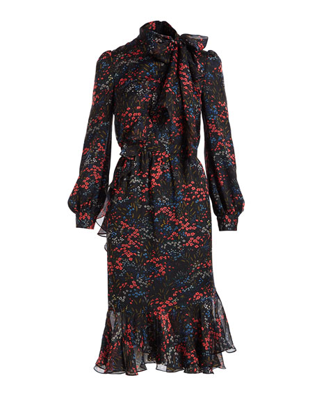 Long-Sleeve Floral-Print Silk Chiffon Dress w/ Asymmetric Tiered Hem
