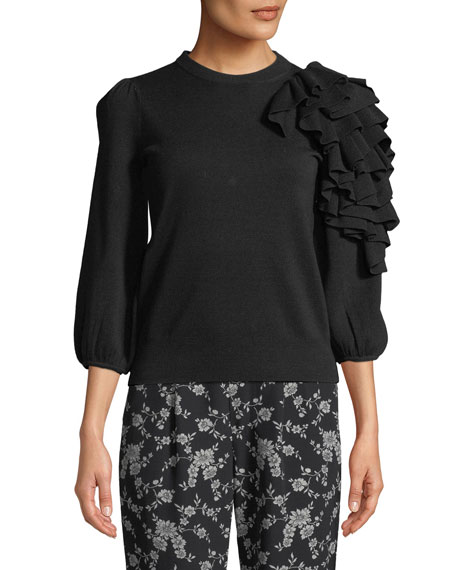 Exaggerated Ruffle  3/4-Sleeve Merino Wool Sweater