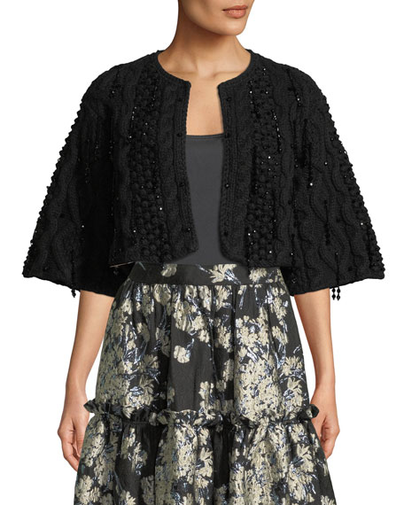 Bead-Embellished Cropped Cape Cardigan