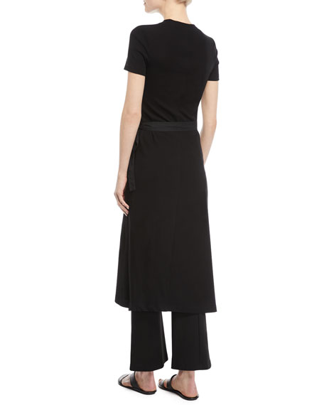 Crewneck Short-Sleeve Rib-Jersey Apron Dress
