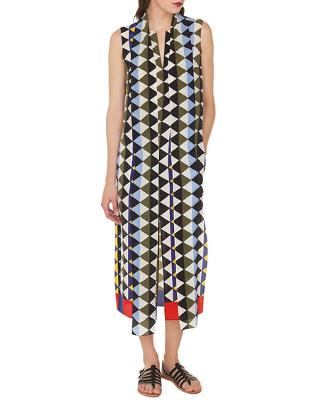 Sleeveless Diamond-Print Silk Crepe A-Line Dress with Neck-Scarf