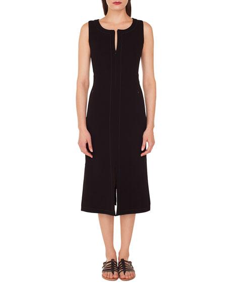 Akris Sleeveless Round-Neck A-Line Stretch-Wool Midi Dress with Topstitching