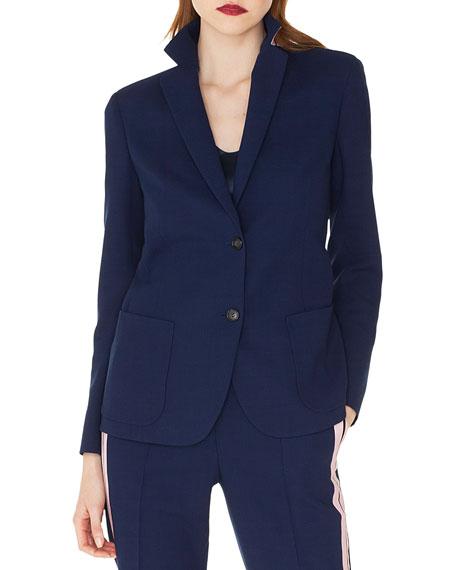 Akris Satine Contrast Back-Collar Single-Breasted Wool Jacket