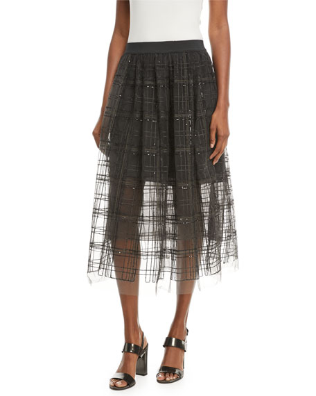 A-Line Tulle Skirt with Sequin Windowpane