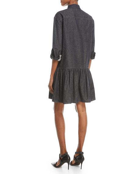 Drop-Waist Button-Front Denim Dress w/ Monili Pocket