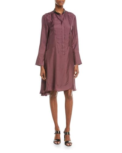 Long-Sleeve Silk A-Line Dress w/ Monili Mandarin Collar