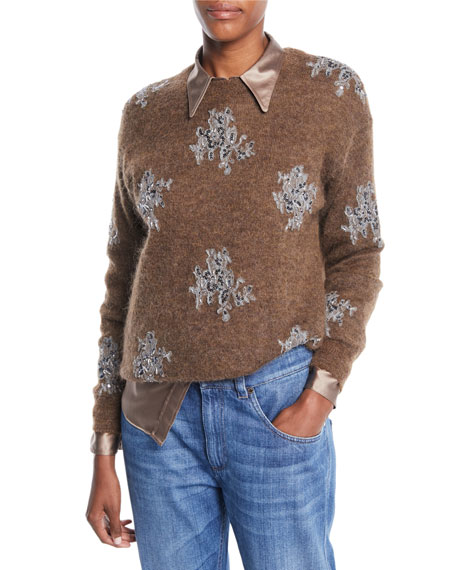 Mohair-Alpaca Crewneck Sweater with Paillette-Lace Applique