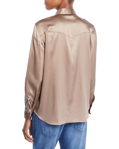 Long-Sleeve Button-Front Silk Charmeuse Blouse w/ Monili Trim