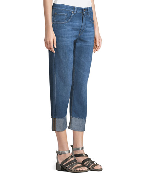 Straight-Leg Cropped Jeans with Monili Trim