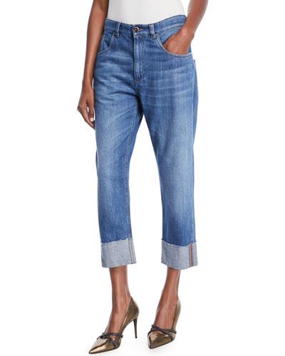 Straight-Leg Cropped Jeans with Monili Trim