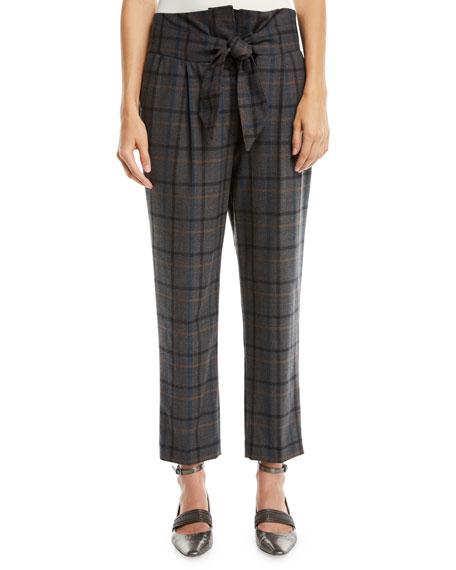 Brunello Cucinelli High-Waist Tie-Front Tapered-Leg Plaid Wool