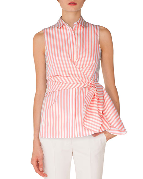 Sleeveless Kent-Collar Wrap-Detail Striped Shirt