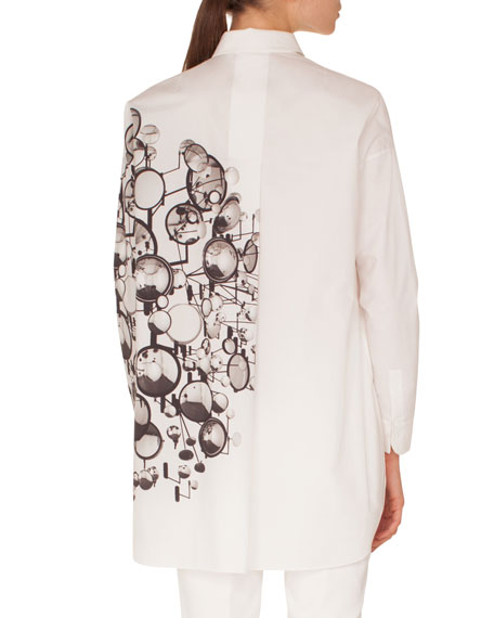 Long-Sleeve Button-Down Mirror-Print Cotton Tunic Blouse