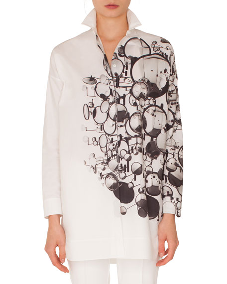 Akris punto Long-Sleeve Button-Down Mirror-Print Cotton Tunic
