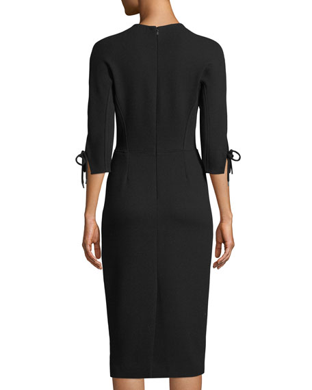 V-Neck 3/4-Sleeve Fitted Sheath Dress
