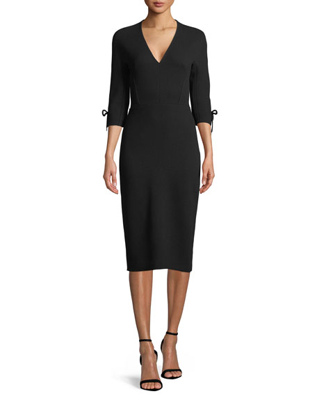 V Neck 3/4 Sleeve Fitted Sheath Dress by Lela Rose
