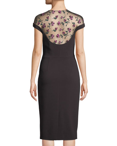 Floral-Embroidered Tulle Yoke Fitted Cocktail Dress