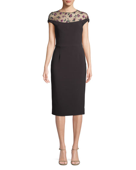 Lela Rose Floral-Embroidered Tulle Yoke Fitted Cocktail Dress