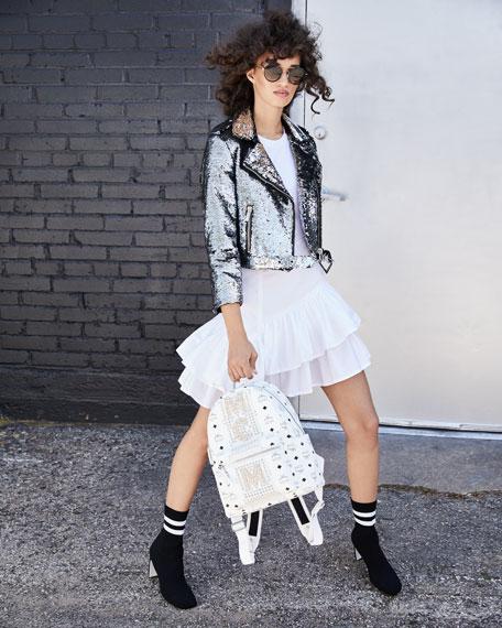 Sequined Cropped Biker Jacket