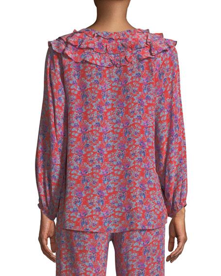 Image 2 of 3: Millie Frida Floral-Print Silk Crepe de Chine Peasant Blouse