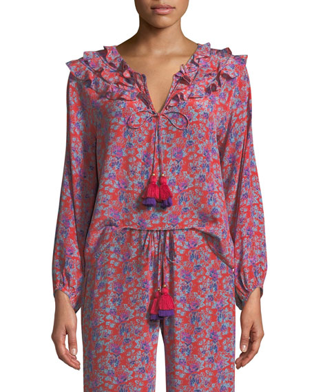 Image 1 of 3: Millie Frida Floral-Print Silk Crepe de Chine Peasant Blouse