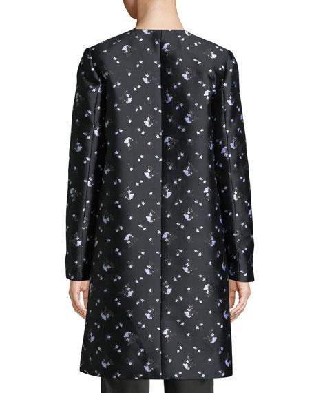 Zac Posen Button-Front Winter-Rose Jacquard Evening Jacket