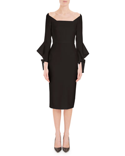 Off-the-Shoulder Tie-Cuff Crepe Sheath Cocktail Dress