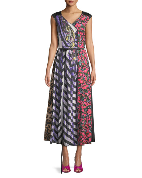 Marc Jacobs Sleeveless V-Neck Photographic Mixed-Print A-Line