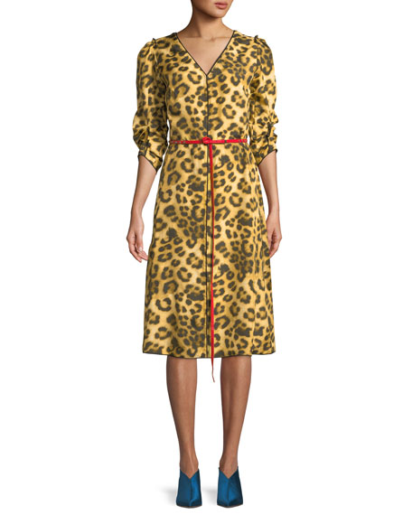 Marc Jacobs V-Neck 3/4-Sleeves Belted Leopard-Print Dress w/