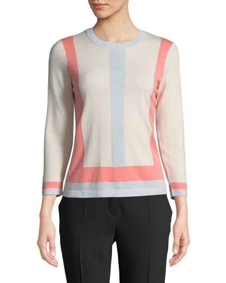 Escada Colorblocked Crewneck Wool-Cashmere Pullover