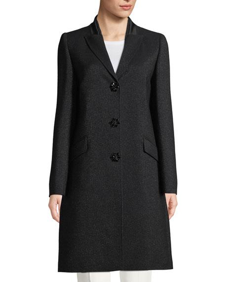 Escada Jeweled Snap-Front Metallic Wool Tuxedo Coat