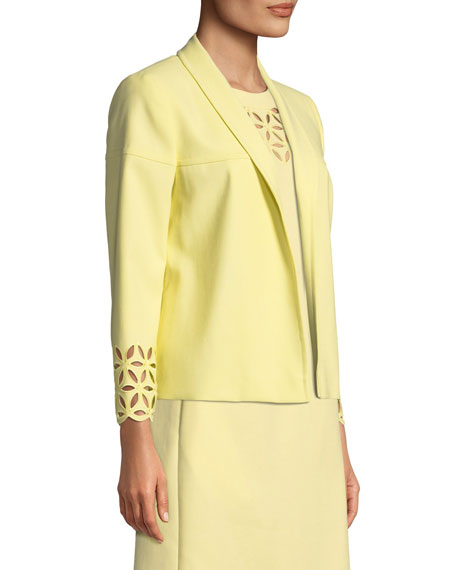 Escada Open-Front Broderie-Anglaise Cotton Jacket