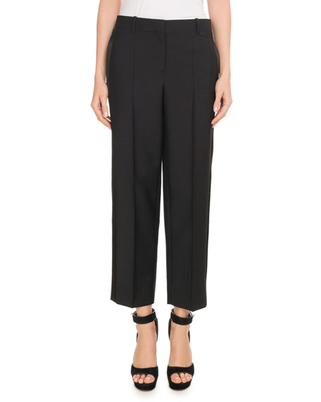 Wide-Leg Side-Stripe Satin Tuxedo Ankle Pants