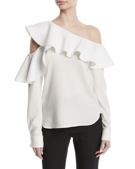 Long-Sleeve One-Shoulder Ruffle Silk Blouse