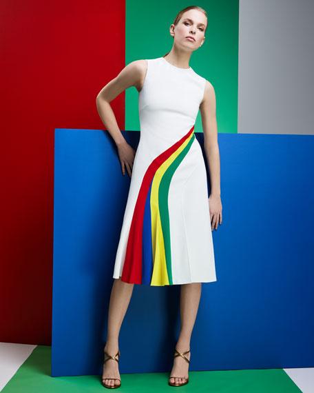 Celesse Sleeveless Rainbow Stripe Fit-and-Flare Dress