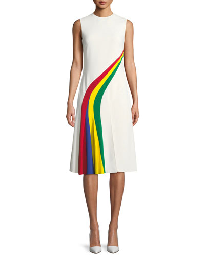 Celesse Sleeveless Rainbow Stripe Fit-and-Flare Dress
