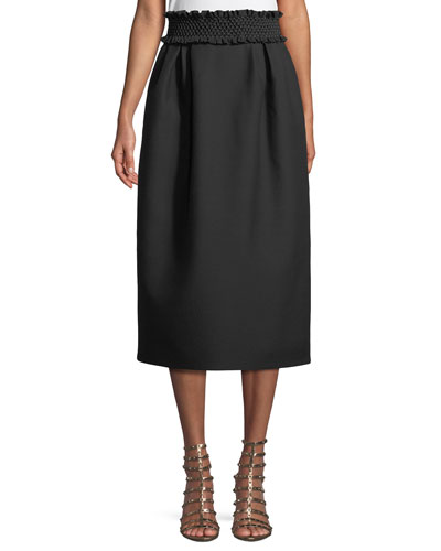 Smock-Waist A-Line Crepe Wool-Blend Ankle-Length Skirt