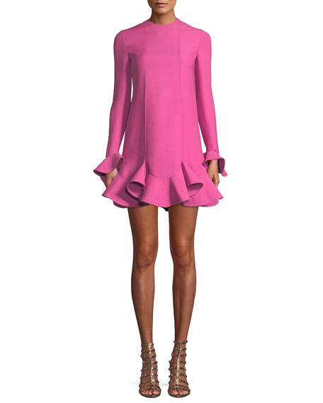 Long-Sleeve Layered Ruffle Hem Crepe Couture Dress