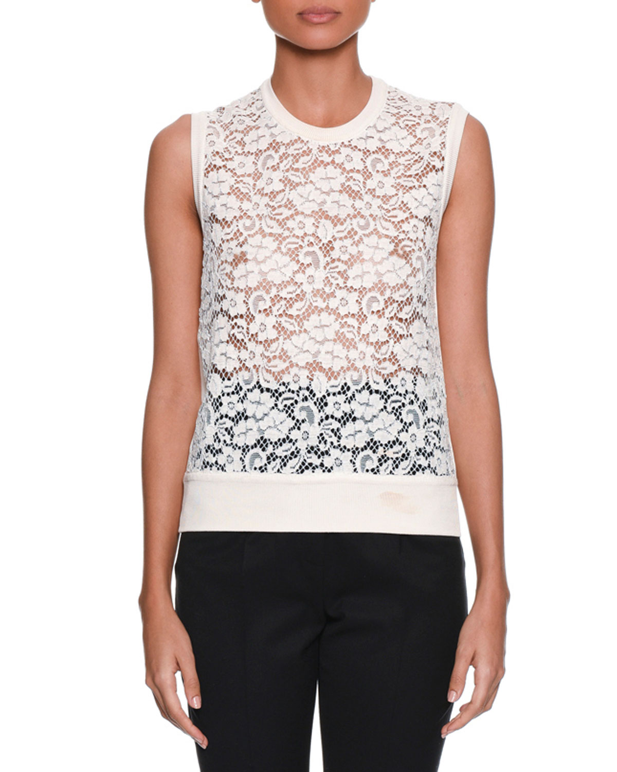67e0f7ae155f5c Dolce   Gabbana Sleeveless Rose-Lace Front Knit Shell Top