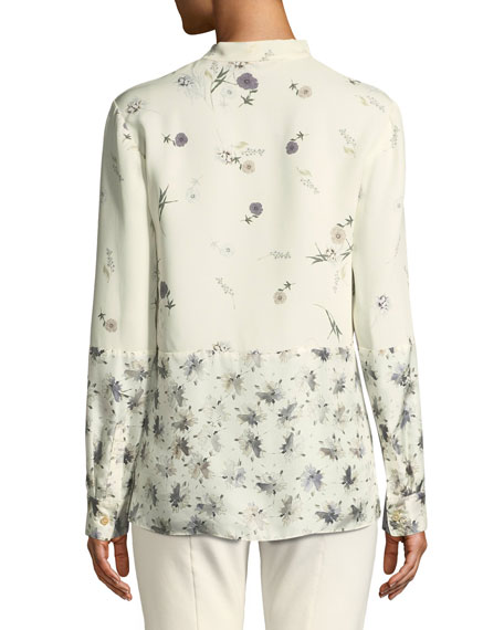 Mixed Floral Tie-Neck Silk Blouse
