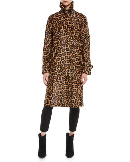 Leopard-Print Double-Breasted Haircalf Trench Coat