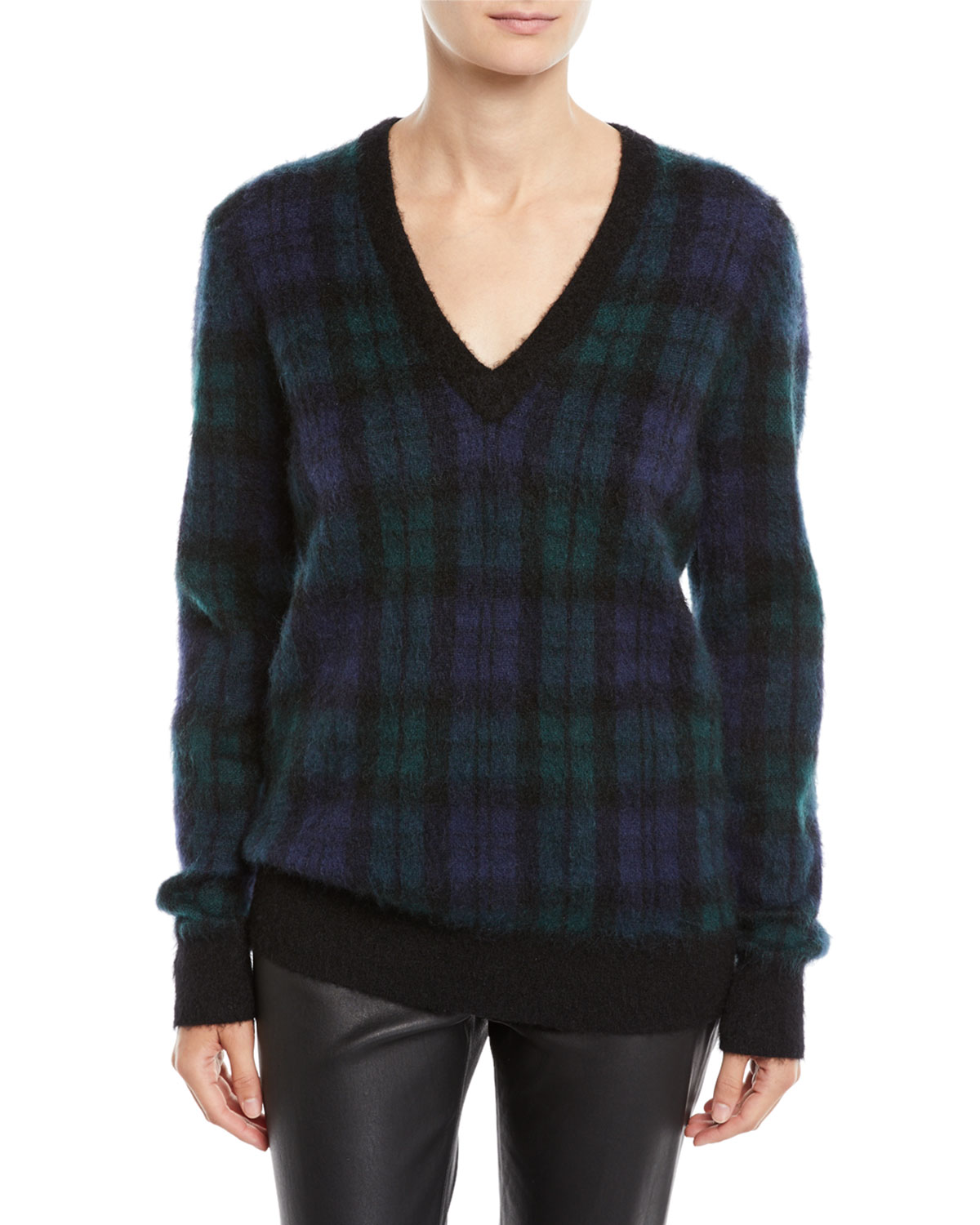 94e3e9148aa3 Michael Kors Collection V-Neck Long-Sleeve Tartan Pullover Sweater w  Calf  Hair